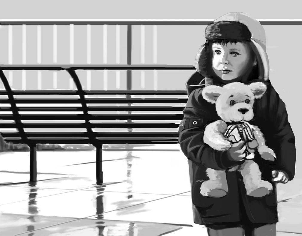Boy and Teddy Bear by nisaren
