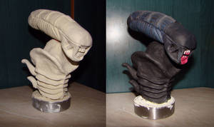 Xenomorph bust sculpture (phase 1, phase 2)