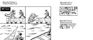 concept sketches of alternative endings