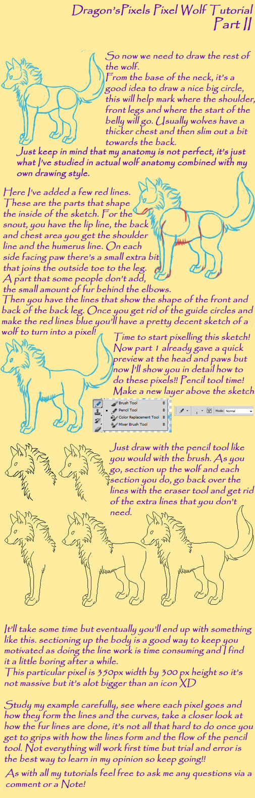 Dragon'spixels Pixel Wolf Tutorial Part 2 By Dragonspixels