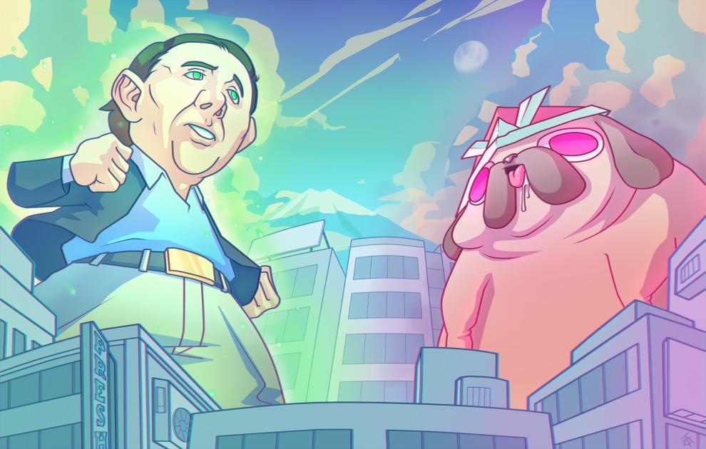 Nicolas-Cagemon VS Pug-With-Hatmon by Wingza