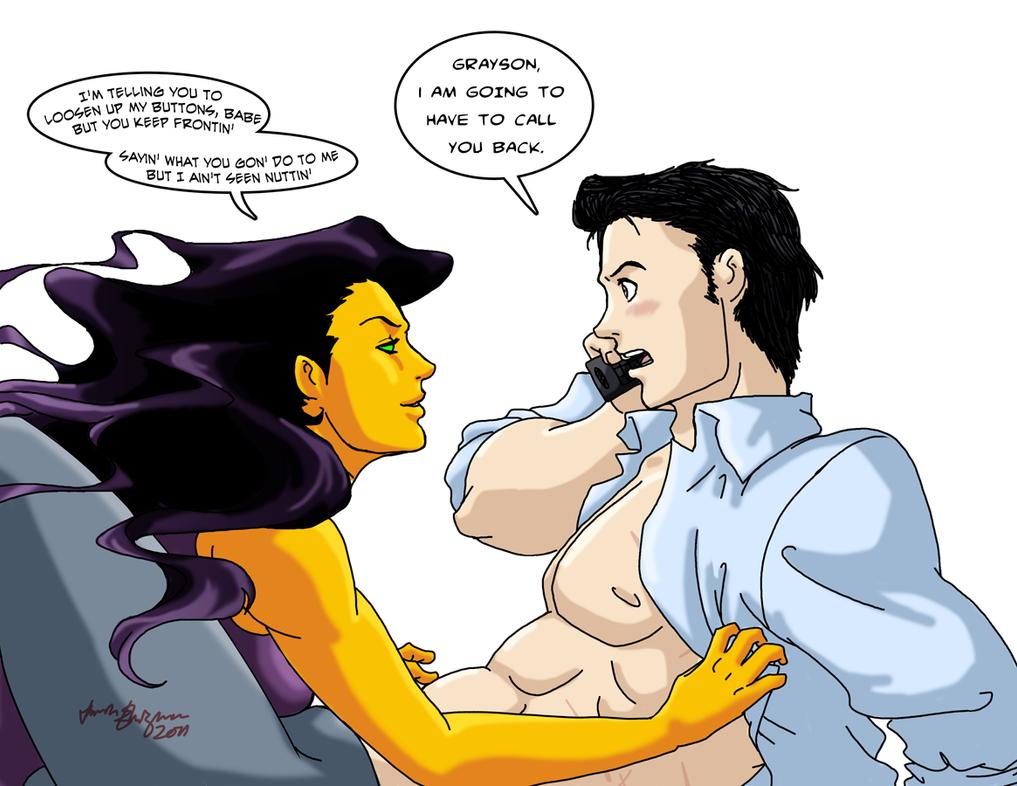 Damian Wayne And Nightstar meow by TwinEnigma