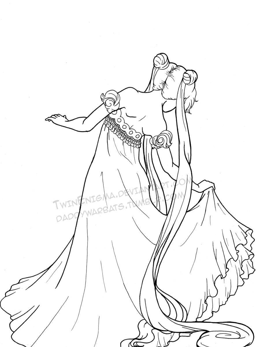 princess serenity bw inks by twinenigma on deviantart