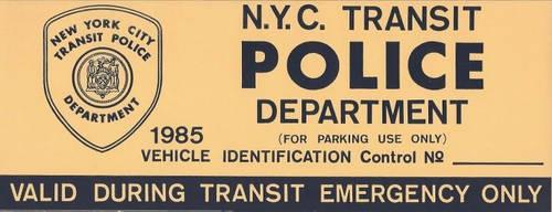 transit police parking placard by TreborNehoc