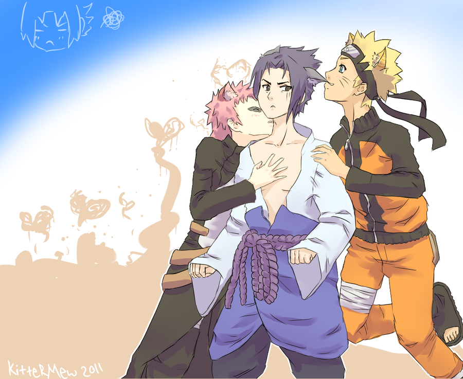 Gaara, Sasuke, Naruto by Kittermew on DeviantArt