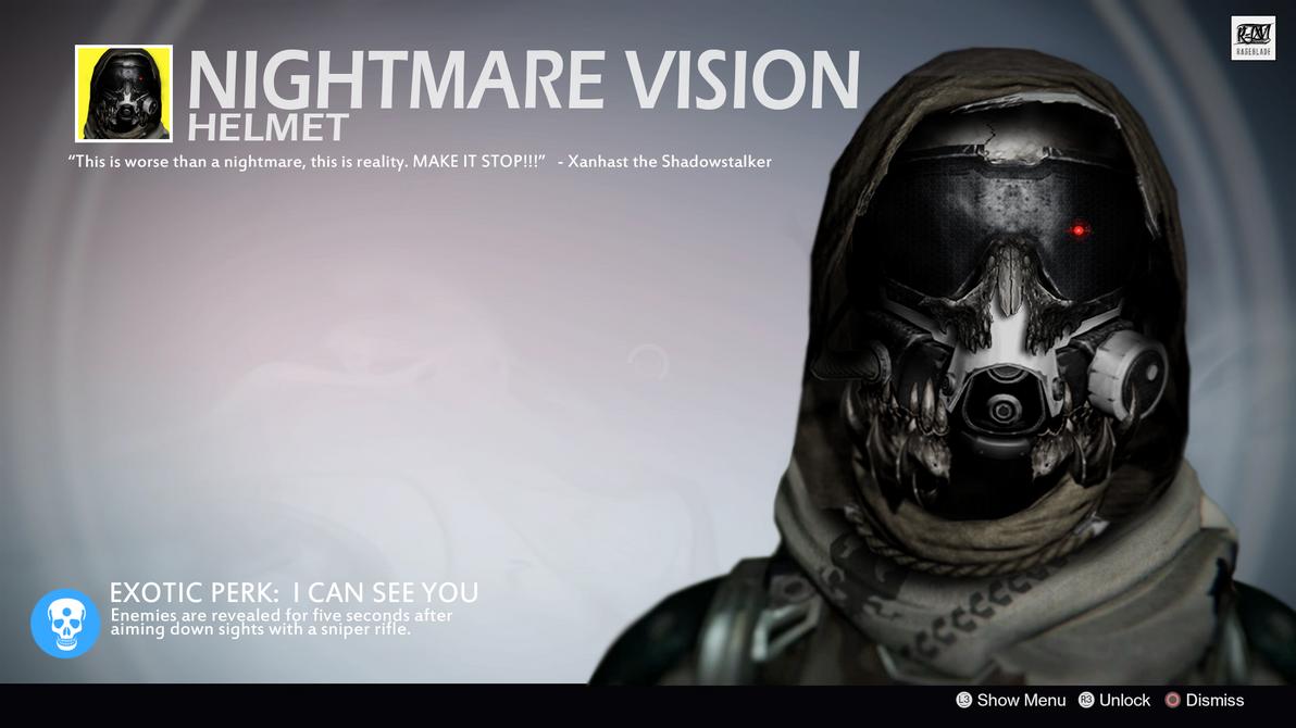 Nightmare Vision Exotic Hunter Helmet Concept By Rageblade66