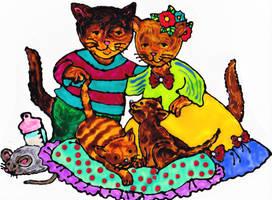 Cat Family by mockingbirdontree