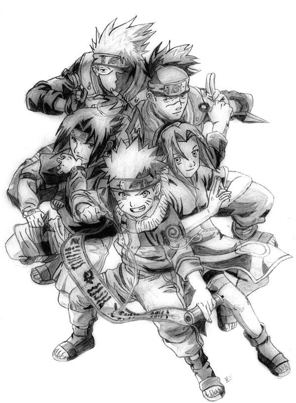 Naruto Group Sketch by sasukexitachi