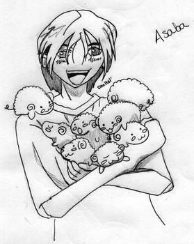 Asaba holding sheep