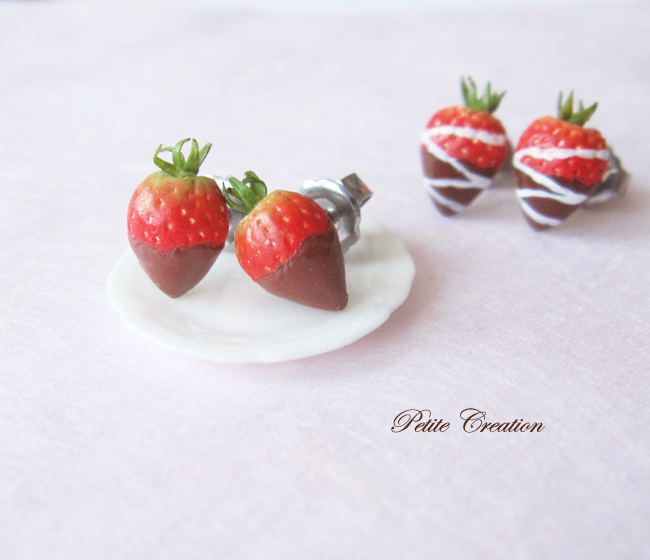 strawberry stude earrings-Petite Creation by PetiteCreation