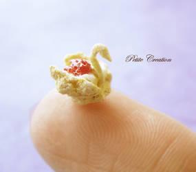 dollhouse miniature swan cream puff 2 by PetiteCreation
