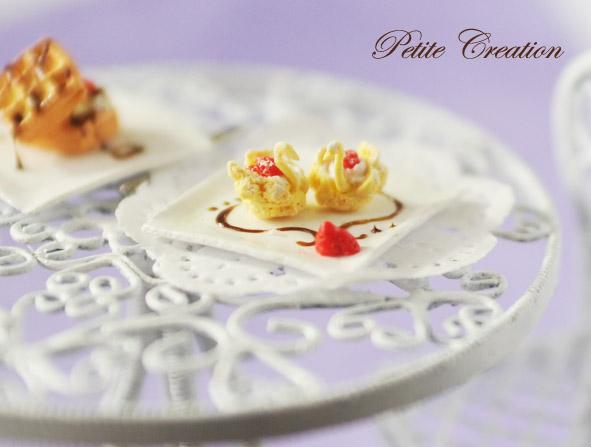 dollhouse miniature swan cream puff 3 by PetiteCreation