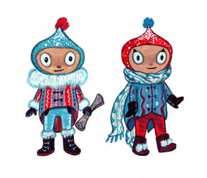 Miniature Snow People by RayGunNoey