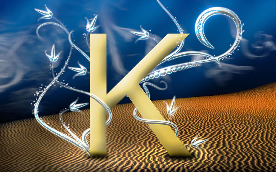 Golden K by simd   D Name Letter Wallpaper