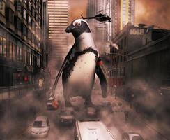 Penguinzilla by simdragon90