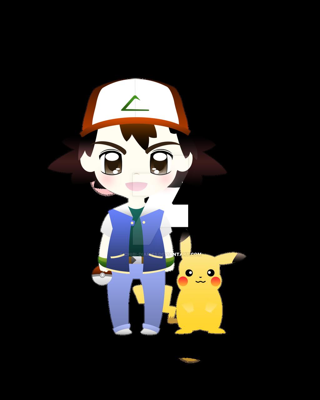 Chibi pikachu with ashs hat