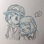 Ash Ketchum y Serena Dormir Amourshipping