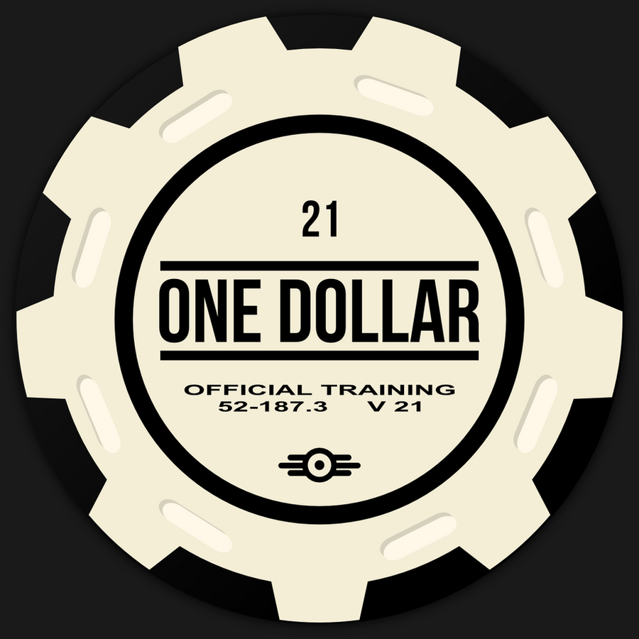 Fallout New Vegas Vault 21 poker chip by JaggedGenius