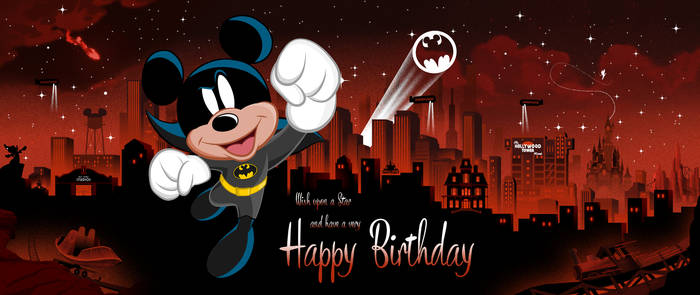 Bat-Mickey Birthday Card