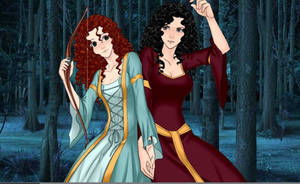 Merida And Mother Gothel by adrianaTheGirlOnFire