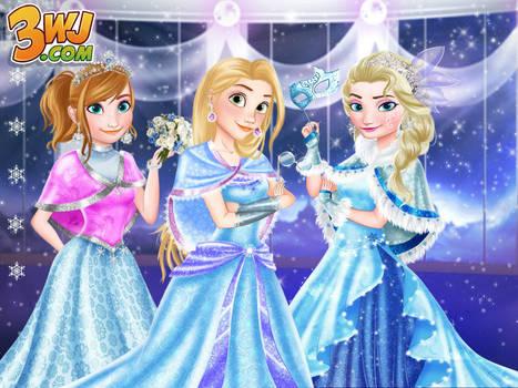 Anna,elsa and rapunzel Snowflakes Winter Ball