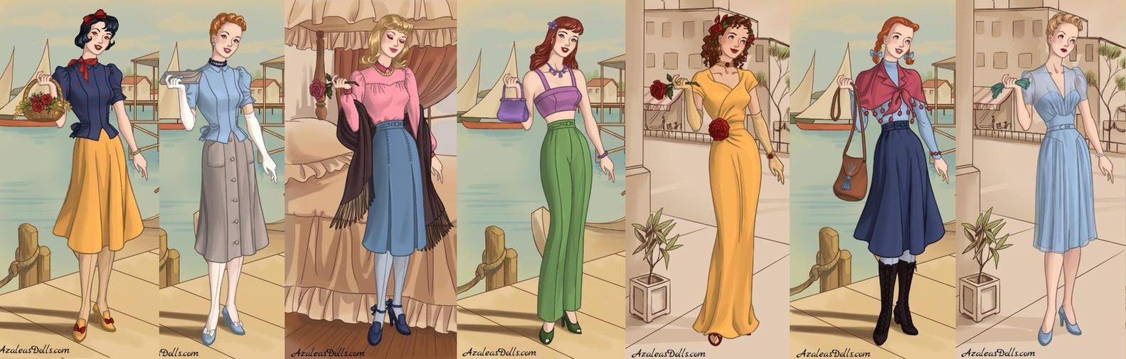 disney princesses 1940s fashion part1 by adrianaTheGirlOnFire