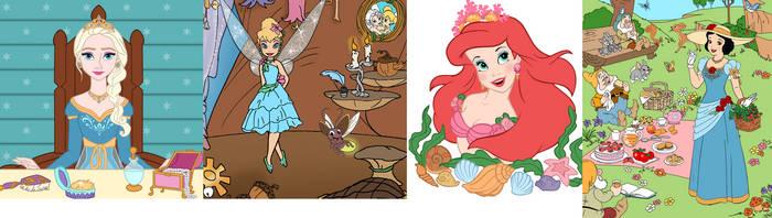 Elsa,tinkerbell,ariel,snow white by adrianaTheGirlOnFire