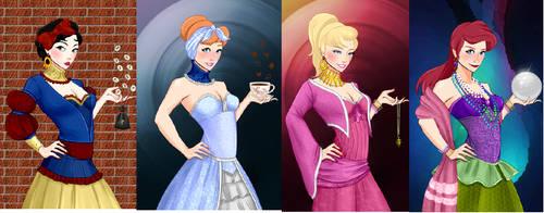 Snow White,cinderella,aurora,ariel fortune teller by adrianaTheGirlOnFire