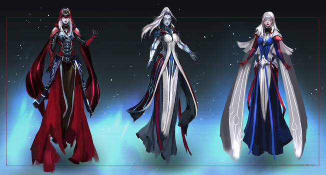 Commission: Priestesses - concept sketches