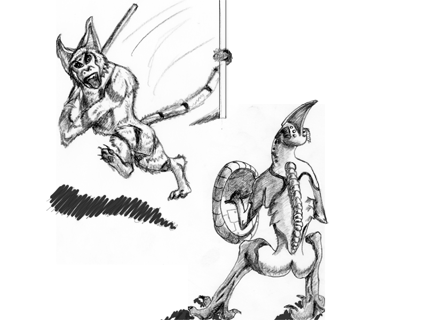 DSG 1453: Sci-Fantasy • TWO ALIEN FIGHTERS FACE EACH OTHER IN A CAGE MATCH