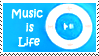 music is life stamp blue