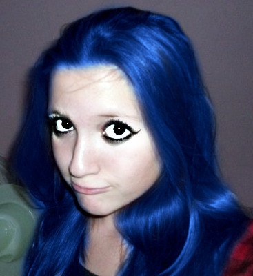 blue hair and black eyes by likeomggreenday on deviantart