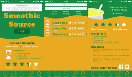 Smoothie Source iOS Application Layout