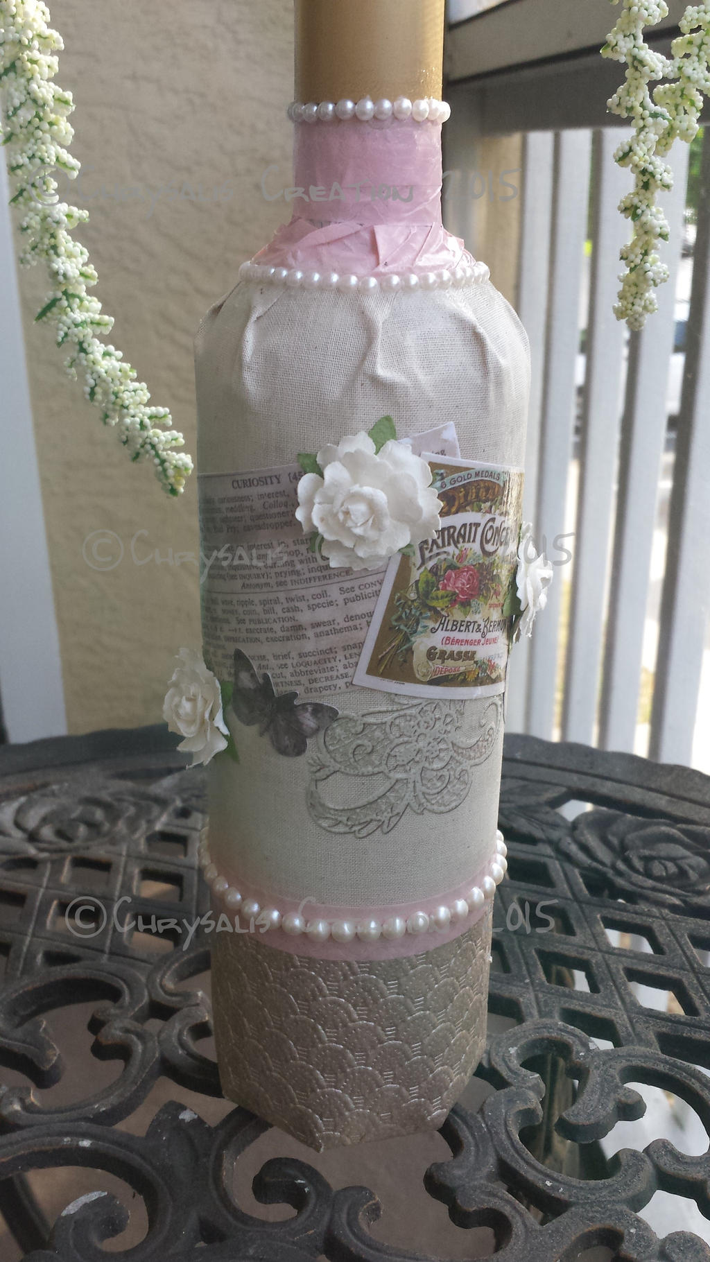 Victorian inspired decoupaged wine bottle by for Wine bottle crafts for sale