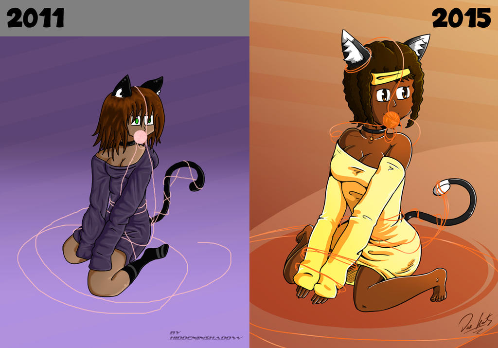 Neko and her yarn - 2011/2015 comparison by Daz-Keaty