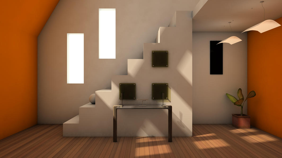 Interior render stairs by capsat on deviantart for Pre built stairs interior