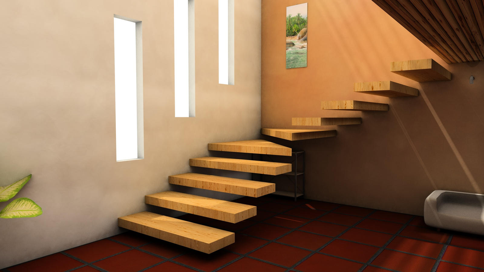 Interior render stairs 2 by capsat on deviantart - Interesting interior designs ...