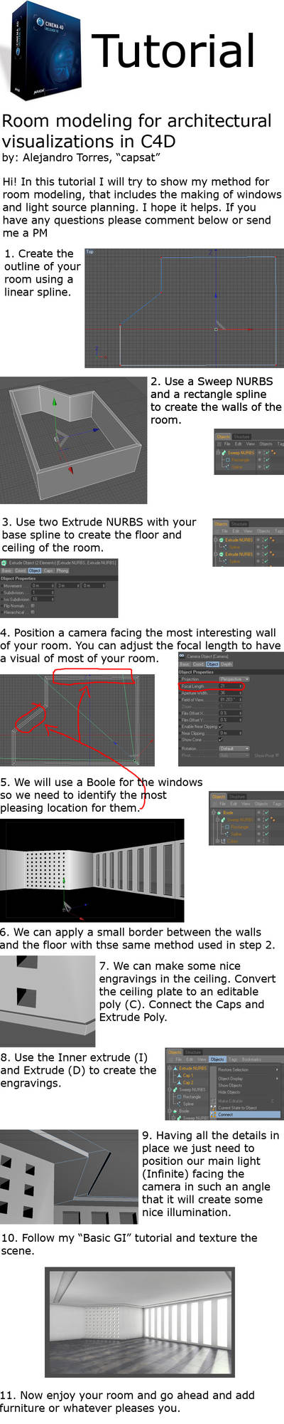 Room Modeling C4D tutorial R10 by capsat