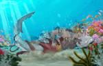 Shark vs Octopus by GreenVikeen
