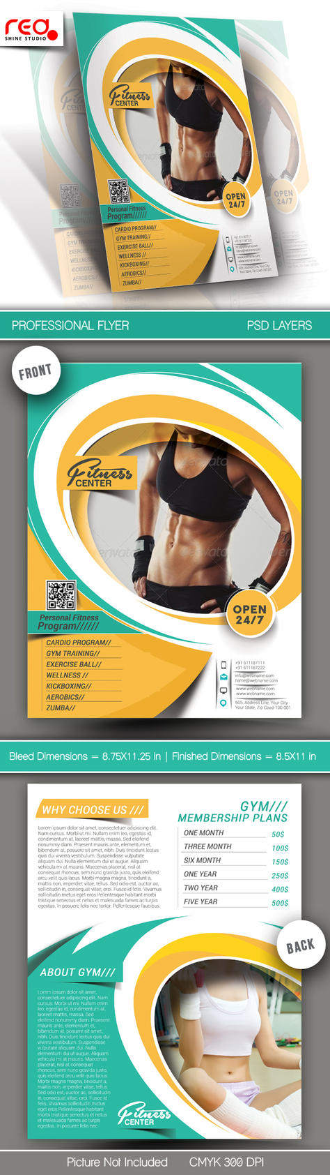 Fitness and Yoga Center Flyer and Poster Template by Redshinestudio