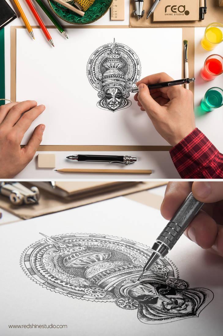 Kathakali Dancer Sketch By Redshinestudio On Deviantart
