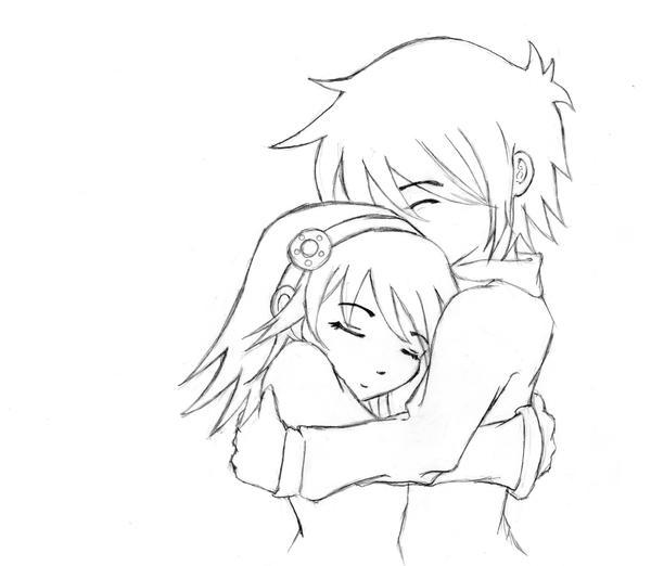 Anime Boy And Girl Hugging Drawing Mount Mercy University