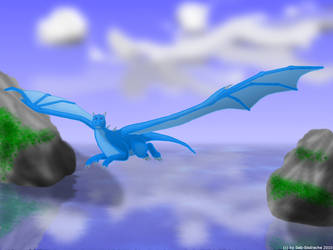 Dragon flys over the sea by Seb-Eisdrache