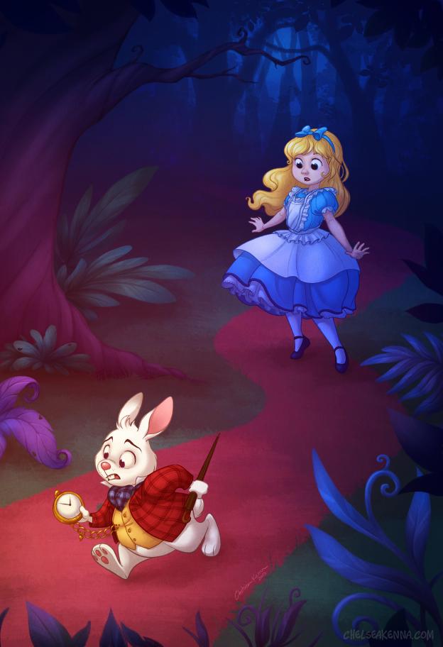 Alice In Wonderland White Rabbit Down Rabbit Hole Children Word ...