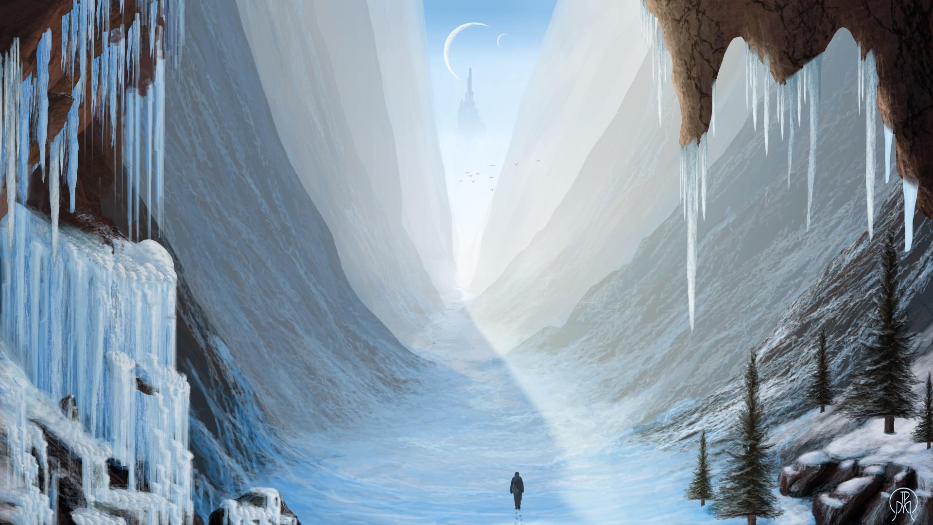 Through the Snowy Gorge by Spacepretzel