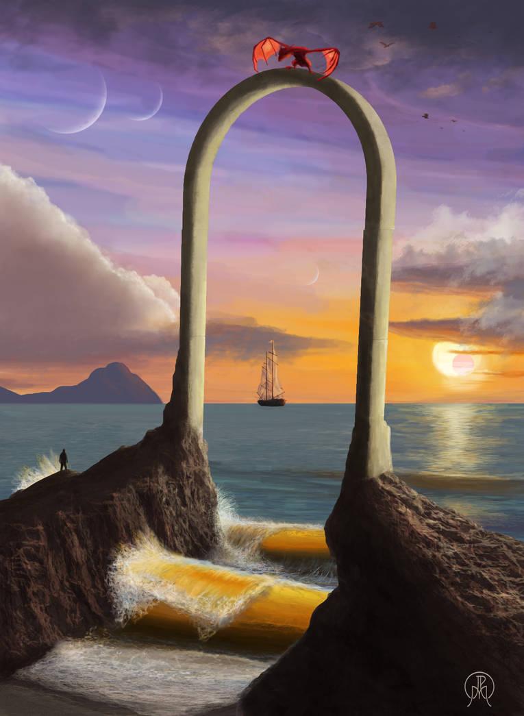 Cliff Arch at Sunset by Spacepretzel