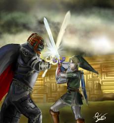Link vs. Ganondorf by superstarmario17