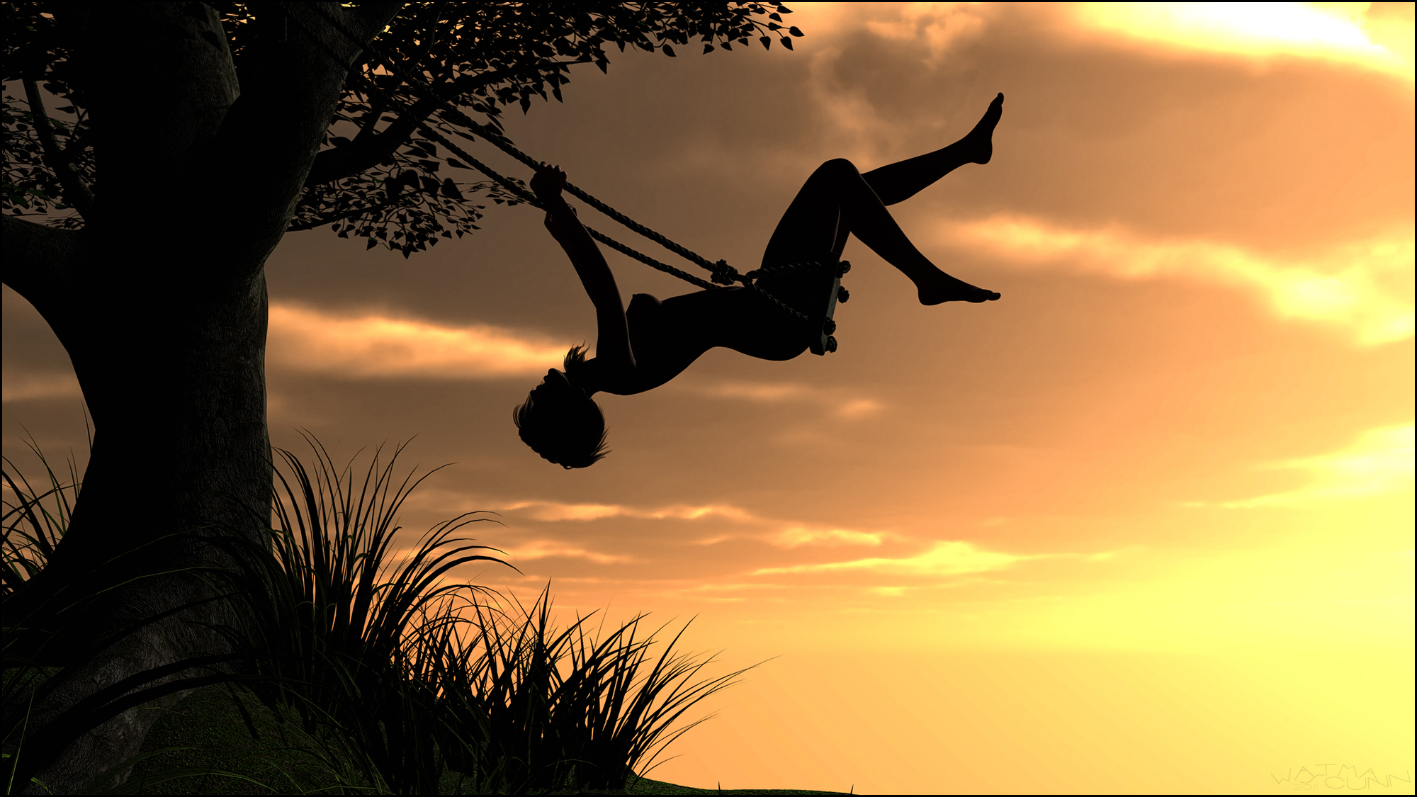 Swinging in the sunset by Sedorrr