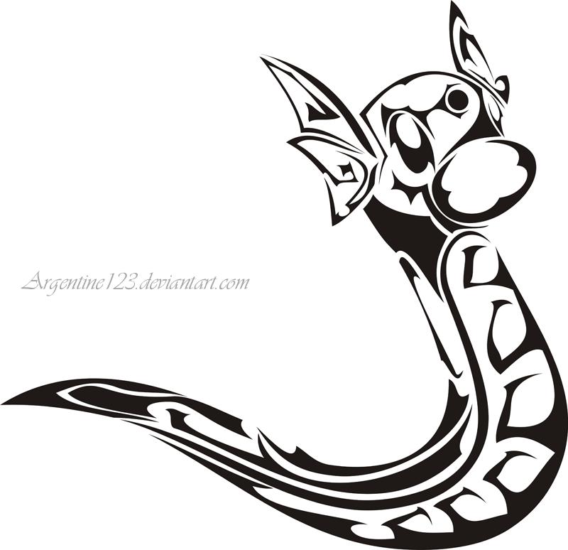 Tribal Dratini Tattoo by NewtonianNocturn