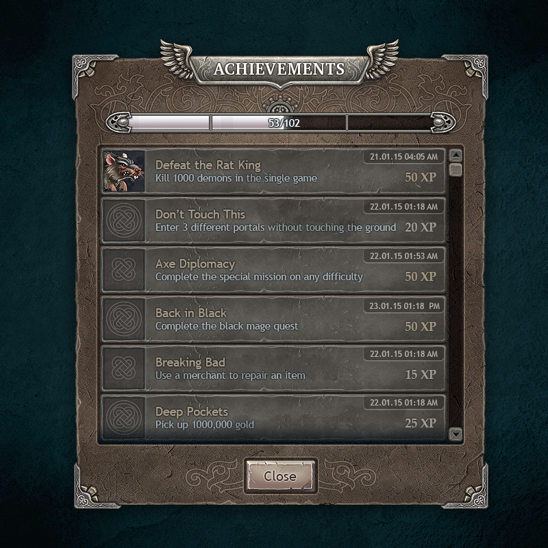 Dark Fantasy UI Achievements by Vadich